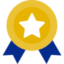 blue and yellow medal star badge ribbon