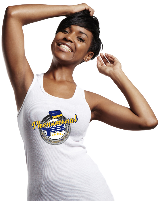 Phenomenal Tees custom t-shirt design and printing photo of young pretty woman with white t-shirt on and your design here text to show custom t-shirt designs