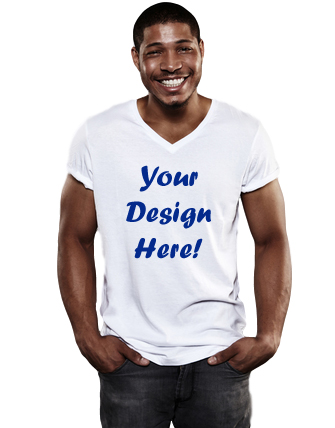 custom t-shirt design photo of young woman smiling pointing to white t-shirt she's wearing that reads your design here