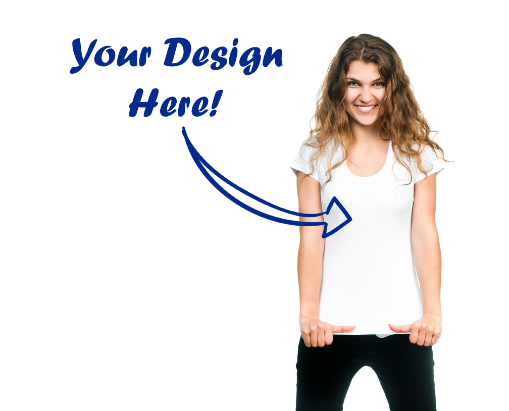 your design here photo of young woman in plain blank white t-shirt smiling happy with arrow pointing to shirt and text reading your design here custom t-shirt printing and design services
